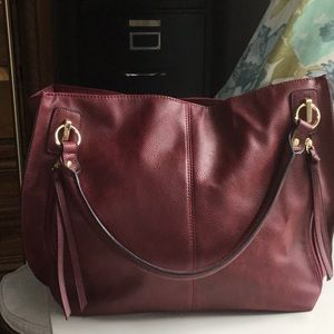Handbags - Large, Red, Faux Leather, Handbag
